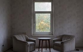 Обои стол, окно, кресла