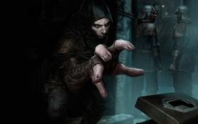Обои темнота, мастер, охрана, капюшон, шкатулка, пальцы, переулок