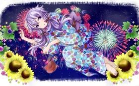 Обои небо, девушка, звезды, цветы, ночь, арт, кимоно