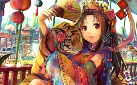 Обои девушка, цветы, тигр, веер