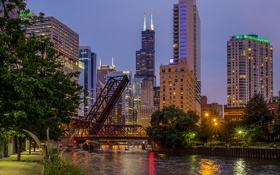 Обои мост, город, река, вечер, Чикаго, США, Иллиноис