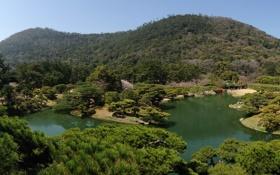 Обои пейзаж, природа, пруд, фото, Япония, сад, Takamatsu Ritsurin garden