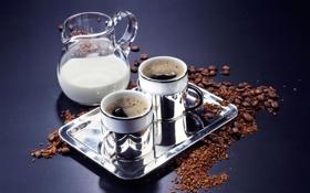 Обои кружки, кофе, зерна