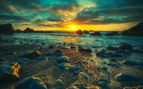 Обои закат, камни, берег, море