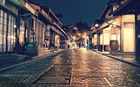 Обои свет, люди, улица, Япония, Киото, магазины, быт