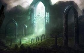 Обои свет, ручей, скалы, арт, колонны, арки, врата