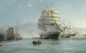 Обои лодка, бухта, парусники, Montague Dawson