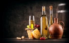Обои вино, корзина, бокал, сыр, виноград, пробка, бутылки
