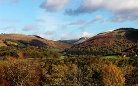 Обои облака, леса, Llangollen, горы, Великобритания, поля