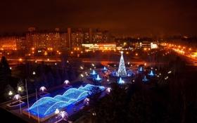 Картинка деревья, улица, звезда, елка, новый год, дома, красота