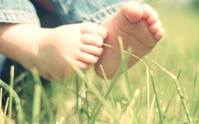 Картинка трава, листья, природа, дети, настроения, ребенок, малыш