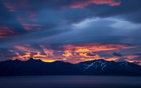 Обои закат, горы, Исландия, Iceland, Westfjords, Гренландское море, Вестфирдир