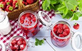 Обои клубника, сахар, листики, leaves, strawberry, sugar, клубничный джем