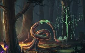 Картинка арт, лес, дух, грибы, деревья