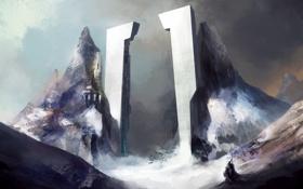 Картинка зима, снег, горы, скалы, человек, арт, колонны