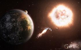 Обои спутник, планеты, звездолет, звезда