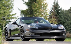Картинка черный, Corvette, Chevrolet, supercar, black, front, корвет