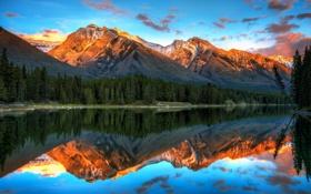 Обои лес, пейзаж, закат, горы, озеро, отражение, Banff National Park