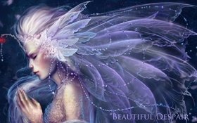 Картинка камни, Девушка, крылья, перья, когти, бусы, бусины