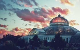Обои небо, облака, здание, консерватория