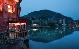 Обои ночь, Night Settles In Feung Huang, огни