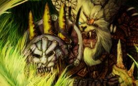 Обои трава, глаз, воин, арт, пасть, клыки, щит