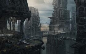 Картинка город, корабль, высота, арт, башни, Star Citizen, Dennis Chan