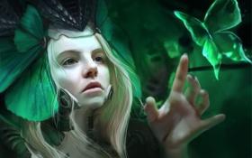 Обои лицо, шлем, бабочка, арт, девушка, зелень