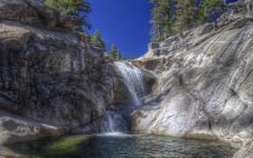 Картинка лес, природа, скалы, водопад, горная река, Yosemite National Park