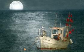 Картинка монтаж, фон, лодка, птицы, море, стиль
