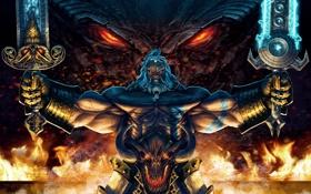 Обои огонь, злоба, мечи, дракон, арт, Diablo 3, barbarian