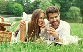 Картинка девушка, природа, вино, корзина, бокалы, girl, love