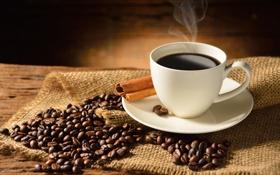 Обои стол, кофе, кружка, корица, кофейные зёрна, блюдце, салфетка