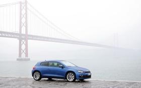 Картинка Мост, Туман, Синий, Германия, Volkswagen, Машина, Набережная