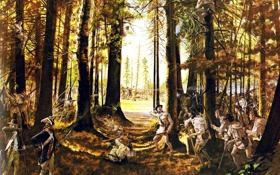 Обои лес, оружие, масло, картина, солдаты, экипировка, холст