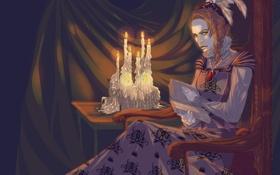 Обои взгляд, стол, женщина, свечи, перья, платье, арт