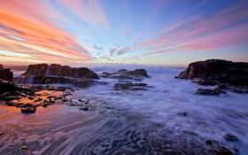 Обои море, небо, пена, облака, скалы
