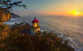 Обои закат, пейзаж, горизонт, солнце, маяк, море, деревья