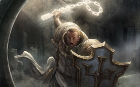 Картинка доспех, Crusader, Diablo III, щит, мужчина, Reaper of Souls, арт