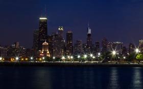Обои ночь, город, огни, парк, река, дома, Чикаго