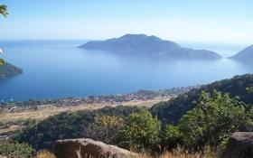 Картинка пейзаж, деревня, панорама, Africa, горное озеро, Lake Malawi, the beautiful lake