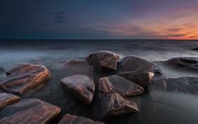 Картинка море, закат, камни, Sweden, Varmland, Takene