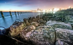 Картинка закат, город, камни