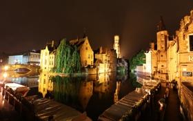 Картинка Брюгге, небо, ночь, канал, огни, Бельгия, дома
