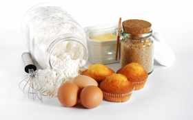 Обои яйца, банка, сахар, кексы, мука, тесто