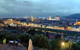 Обои коридор Вазари, река, собор Санта-Мария-дель-Фьоре, дворец Палаццо Веккьо, вид с площади Микеланджело, базилика Санта-Кроче, Дуомо