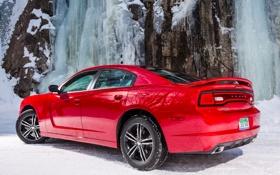 Обои красный, Dodge, додж, Charger, чарджер, Sport, AWD