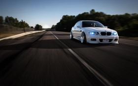 Обои дорога, белый, разметка, bmw, бмв, скорость, тень