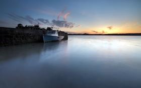 Картинка пейзаж, ночь, озеро, лодка