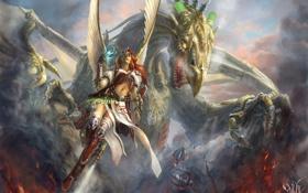 Картинка девушка, облака, огонь, магия, дракон, крылья, фэнтези